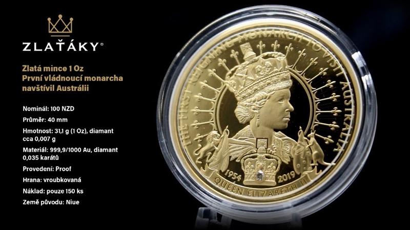 Zlatá mince První vládnoucí monarcha Austrálii 1 Oz 2019 Proof