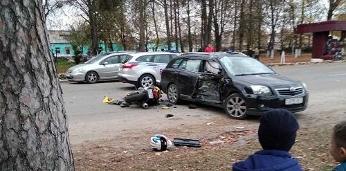 В Ганцевичах байкер попал в серьёзное ДТП