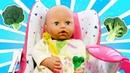 Baby Born Annabelle aprende a comer sozinha! Vídeo com brinquedos para crianças.