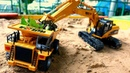 RC cars for kids at the sandbox: A toy excavator a toy truck clean up the playground.