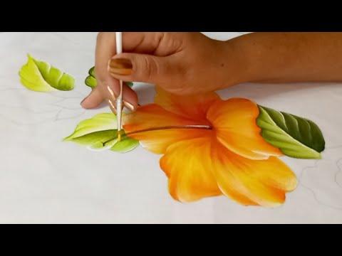 Como Pintar Manteles Hibiscos Tutorial Pintura Textil