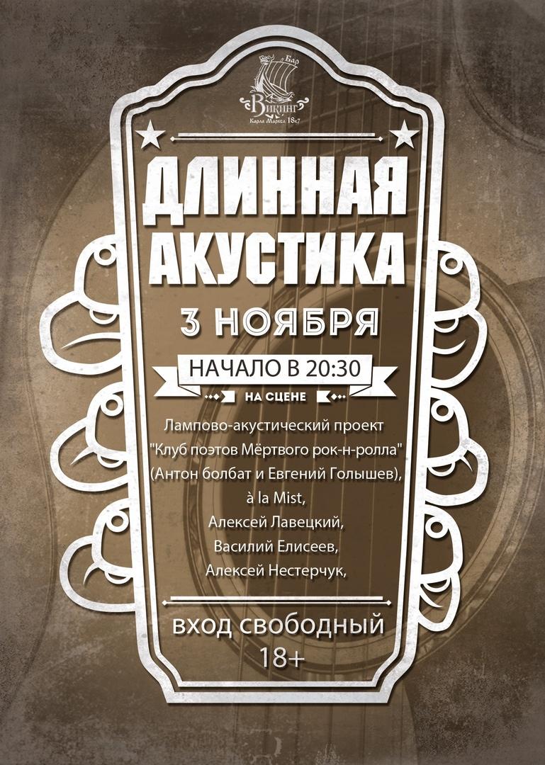Афиша Омск 3 ноября - Длинная акустика в ВИКИНГе!