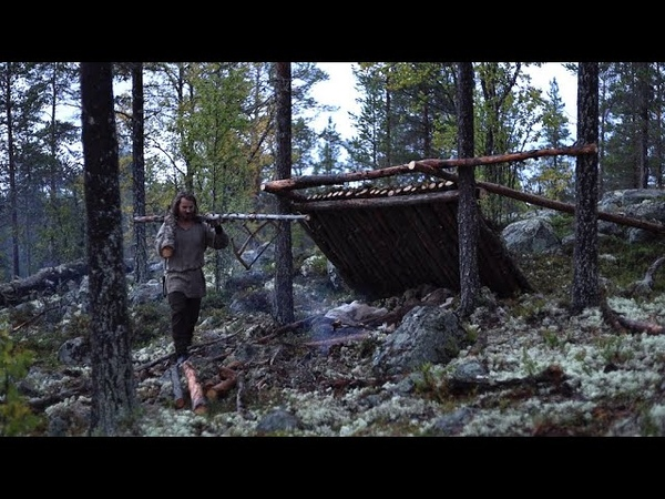 Bushcraft trip - shelter building, boat down river, reindeer skin, meat [lean-to part 1]