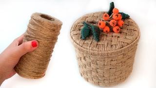 DIY  Wicker basket with Jute Rope and Cardboard  | Jute Rope  Basket | Jute and Cardboard Craft