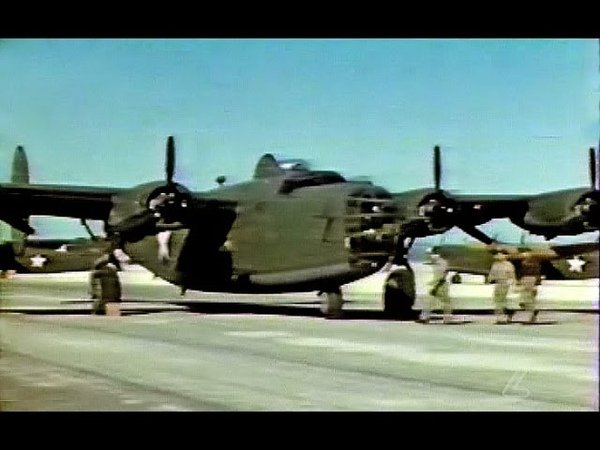Flying the Consolidated B 24 Liberator Bomber in Restored Color 1943