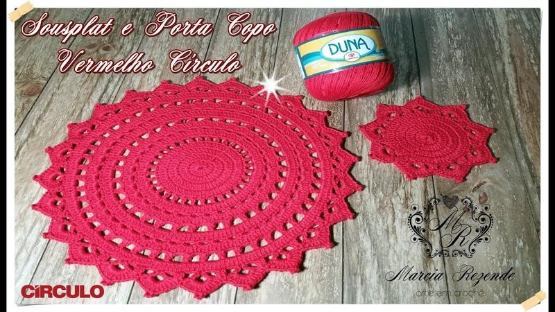 Sousplat e Porta Copo Vermelho Círculo Marcia Rezende Arte em Crochê