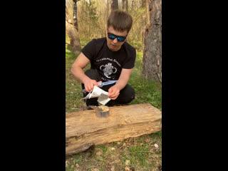 Небольшой тест складного ножа с клинком якутского типа