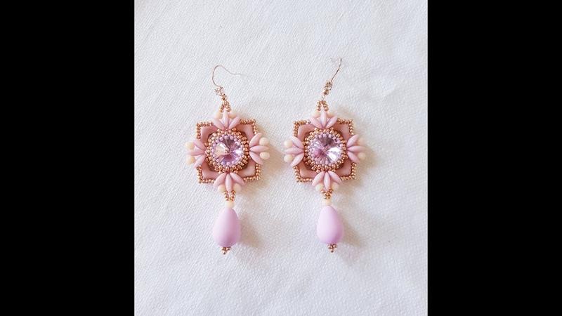 Tutorial Orecchini Sweet con Chevron duo Moby duo cipollotti e rocailles DIY Sweet earrings
