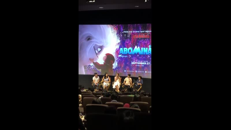 QA session with the cast and crew of AbominableMovie! @chloebennet talks about her experience growing