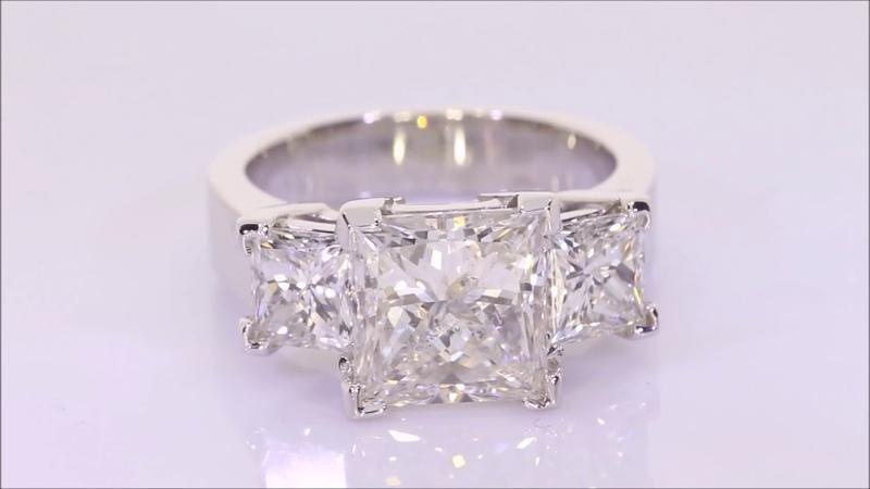 5.88 ctw Diamond Engagement Ring - Princess Cut G SI2 | BigDiamondsUSA