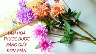 oaihuong handmade  Hng dn lm hoa Thc Dc bng giy m thut / How to make Dahlia paper  Diy