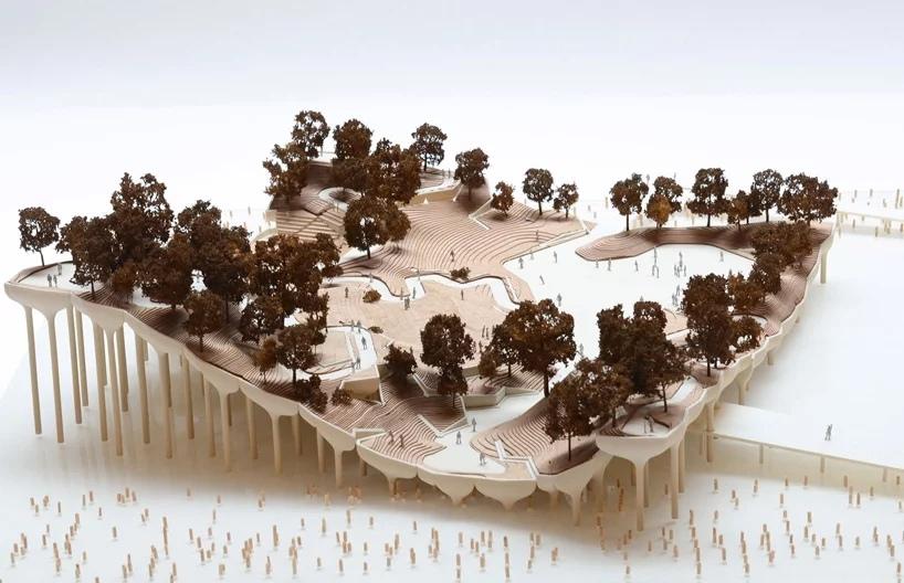 В Нью-Йорке строится необычный парк над водой из бетонных «горшков»