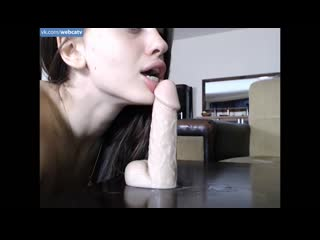 Bubblekush7 - Dildo blowjob and riding [Solo, Masturbation, Toys, Girl, Tits, Ass