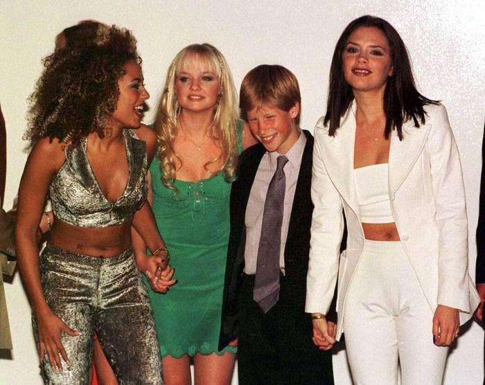 Мелани Браун, Эмма Бантон и Виктория Бекхэм с принцем Гарри, 1990-е.