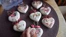 Видео для Алены - елочные игрушки-сердечки из гипса - Ольга Сухова - декупаж.