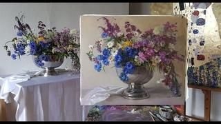 Живопись маслом. Полевые цветы. Большой букет.