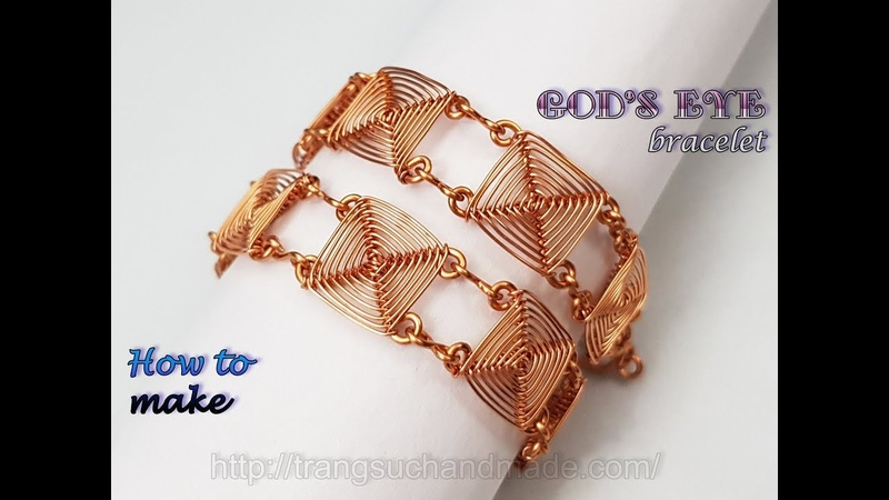 Square chain bracelet inspired God's eye craft Handmade jewelry from copper wire 495