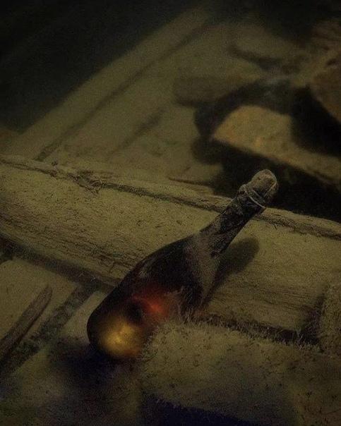 Бутылка шампанского 200-летней выдержки, найденная на затонувшем корабле в Балтийском море В 2010 году группа дайверов обнаружила 79 прекрасно сохранившихся бутылок шампанского в Балтийском