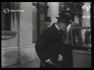 French Prime Minister arrives in London to confer with British Cabinet on the crisis in Cz...(1938)