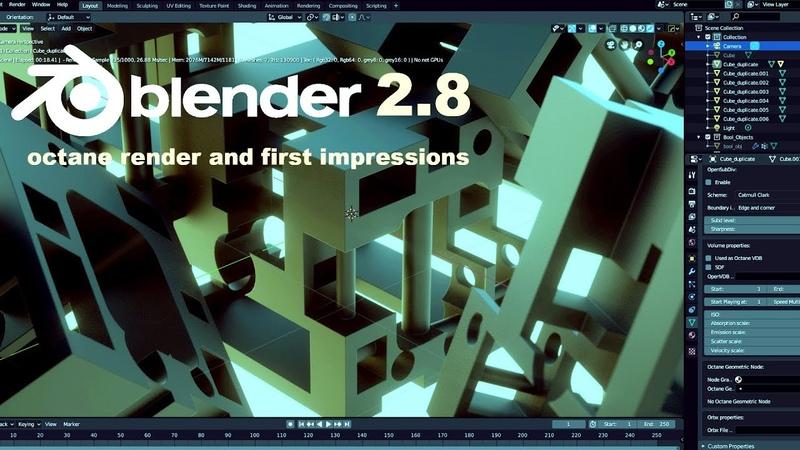 Blender 2.8 урок для новичков. Бесплатный Octane Render и первые впечатления. Аддоны