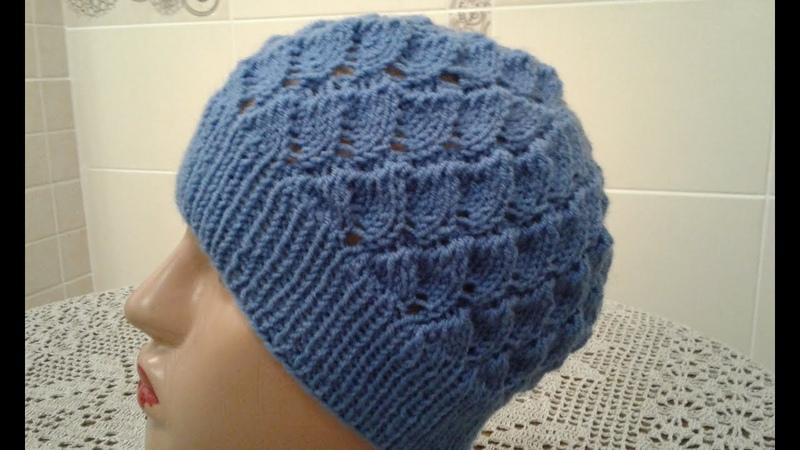 Ажурная шапочка спицами. Часть 1. Womens hats knitting How to knit a hat