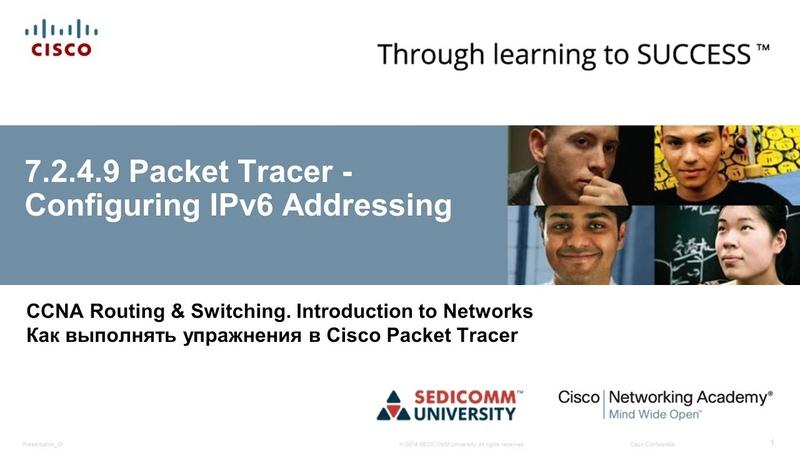 CCNA 1 ITN 7 2 4 9 Packet Tracer Configuring IPv6 Addressing Настройка IPv6 адресации