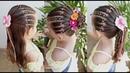 Penteado Infantil de ligas coloridas em tiara meio preso amarração ou coque
