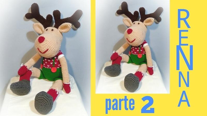 Renna natalizia amigurumi uncinetto reindeer crochet parte 2