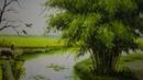 Tranh sơn dầu đồng quê với những cánh đồng lúa chín