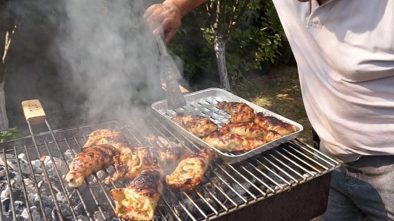 Фаршированный куриный окорок на мангале Рецепт от Жоржа