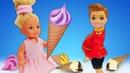 Маленькие куклы Барби готовят игрушечное мороженое плей до - Ролевые игры с игрушками для девочек