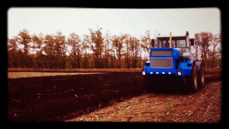 Кировец К-700. 大型拖拉机 Пахота загонным плугом! Plowing the land with a tractor