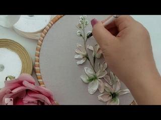 Easy Ribbon embroidery /Ribbon flower/ Hướng dẫn thêu ruy băng cành hoa đơn giản
