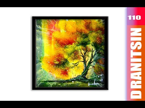 Stunning ABSTRACT PAINTING with Autumn Tree and Fireflies, using Hair Dryer for special effects, 110