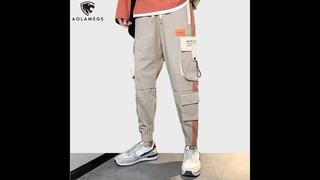 Мужские брюки карго aolamegs, винтажные повседневные спортивные штаны в стиле хип хоп, уличная одежда с карманами, молодежная