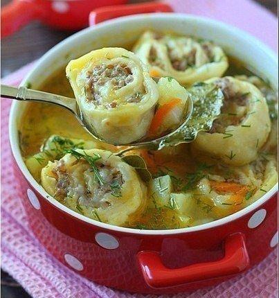 """""""Картофельный суп с ленивыми пельменями"""""""