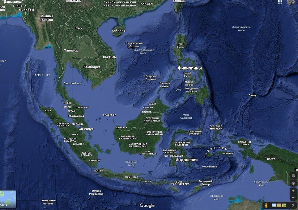 Рельефная карта Юго-восточной Азии