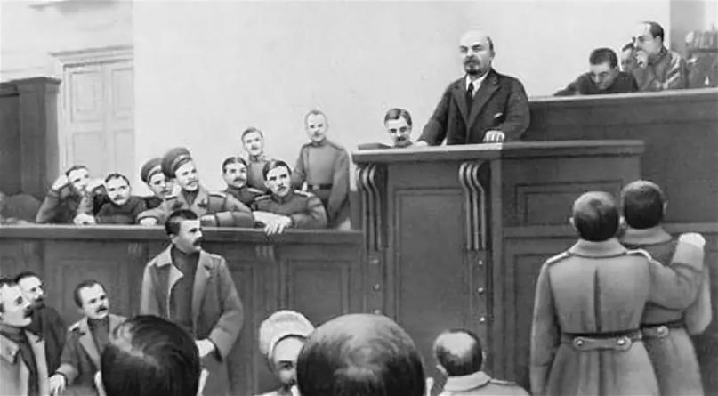 Выступление В. И. Ленина с Апрельскими тезисами с трибуны Петроградского Совета рабочих и солдатских депутатов. 4 апреля 1917 год