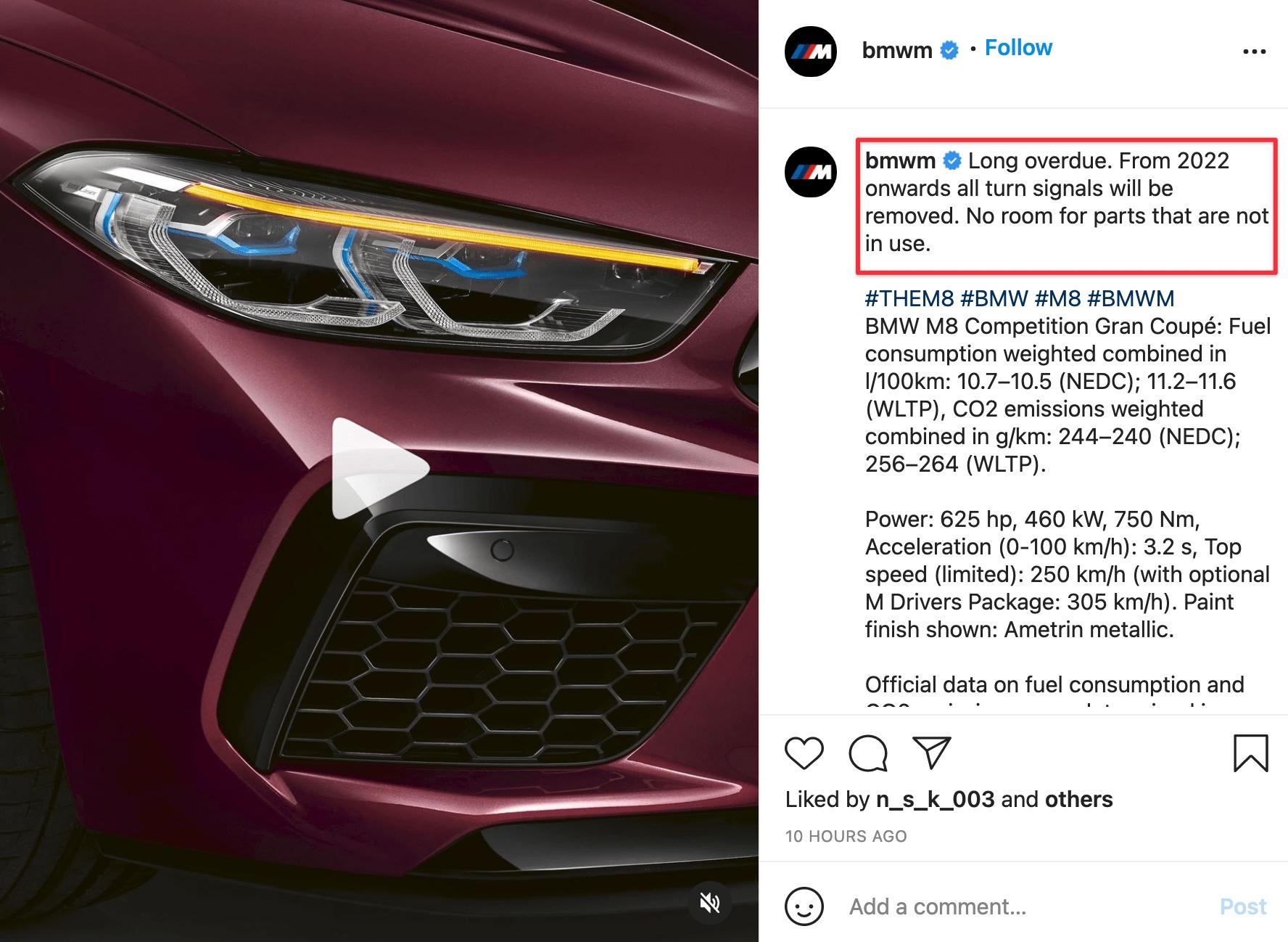 BMW убирает поворотники у новых моделей