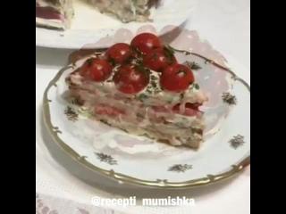 Кабачково-куриный тортик! (ингредиенты в описании)