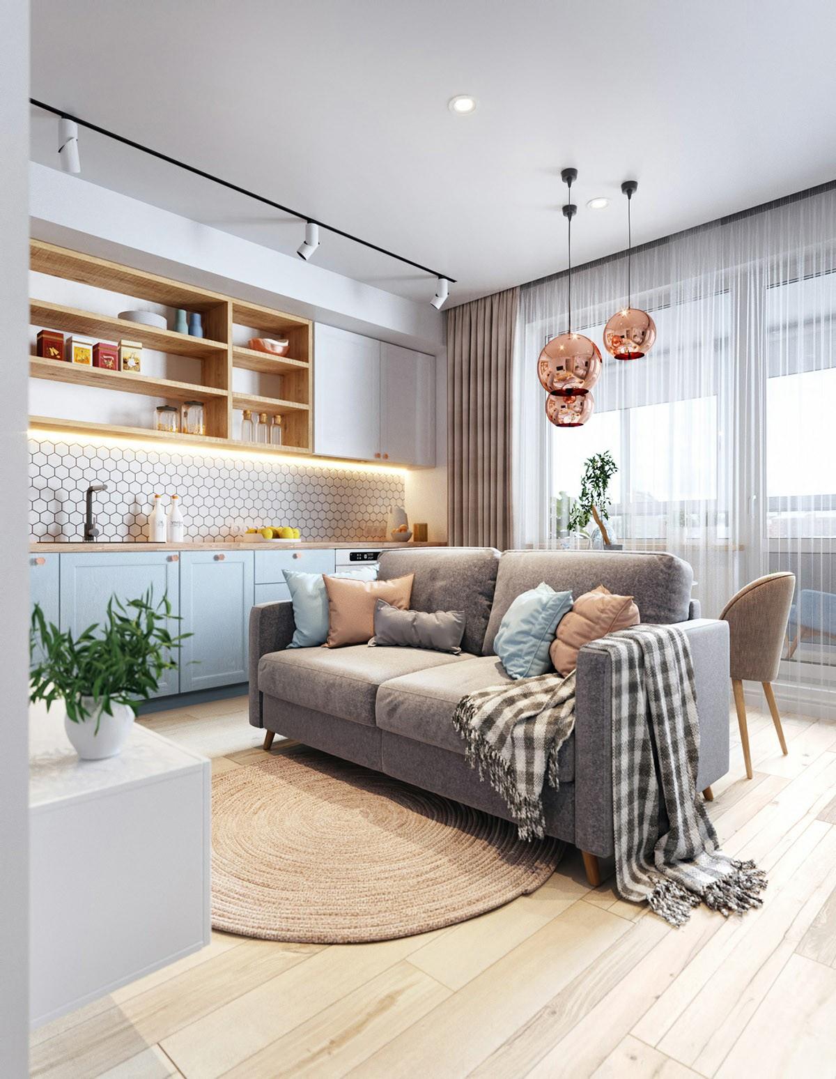 Проект квартиры-студии 37 м (с лоджией – 44 м).