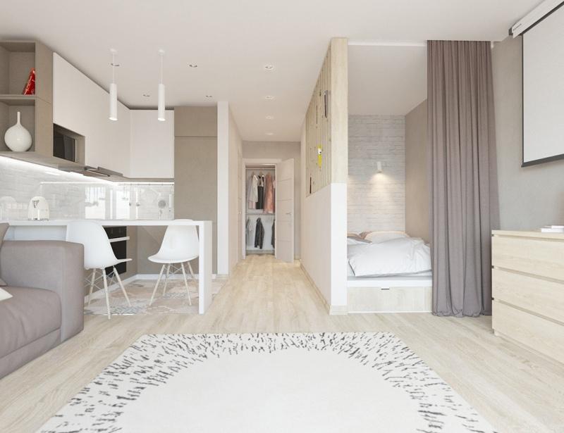 Визуализация интерьера квартиры 40 м.