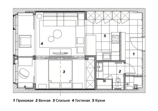 Интерьер квартиры 50 м в Москве.