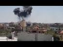 Кадры ударов израильской армии поХан-Юнису в секторе Газа. Один из снарядов попал в дом в центре города
