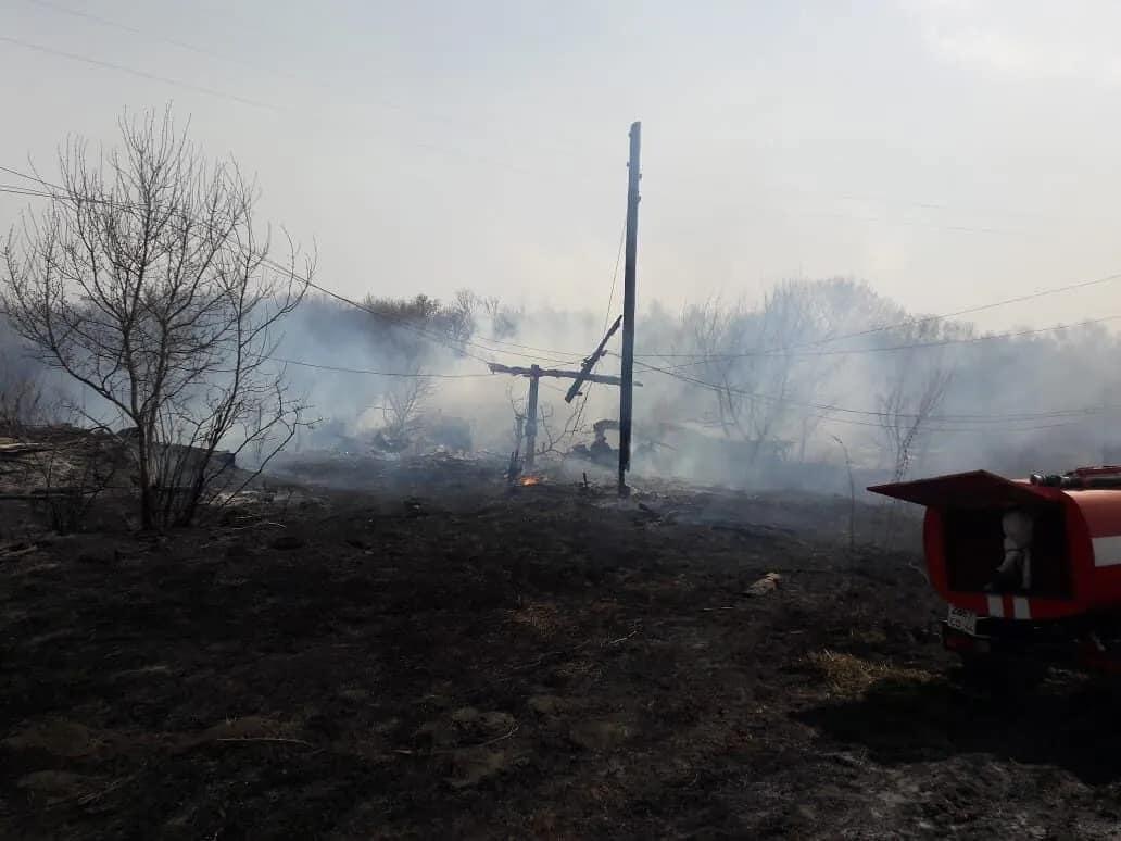 В посёлке Студёный в результате пожара на территории одного из домовладений сгорели надворные постройки и баня