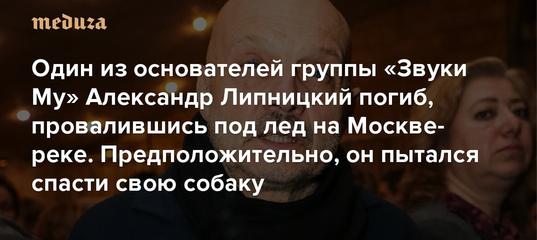 Один из основателей группы «Звуки Му» Александр Липницкий погиб, провалившись под лед на Москве-реке