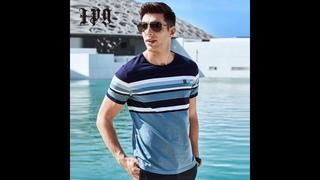 Ipg 2021 новое поступление мужская футболка в полоску хитовый цвет тонкая повседневная модная мужская одежда высокое качество