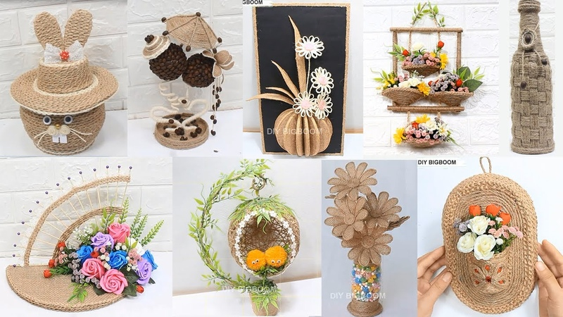 10 Jute craft decoration design collection Home decorationg ideas