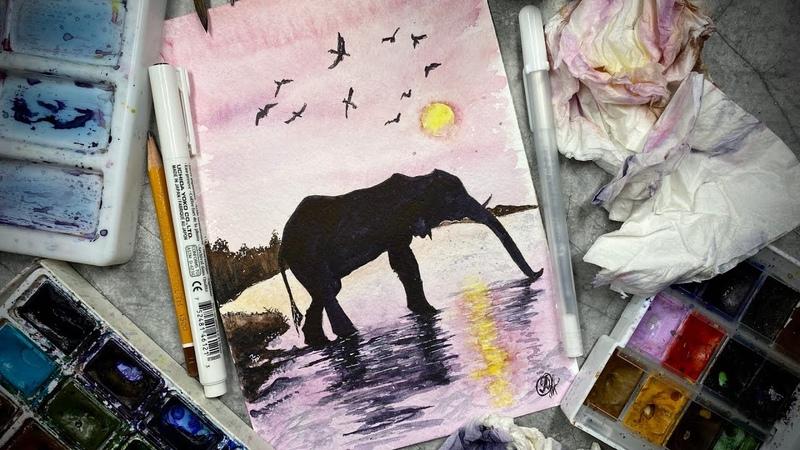 Силуэт слона Силуэт животных акварелью Закат акварелью
