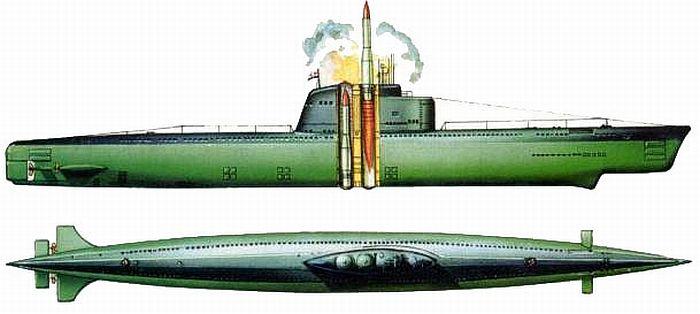 Схема размещения ракет на подводной лодке